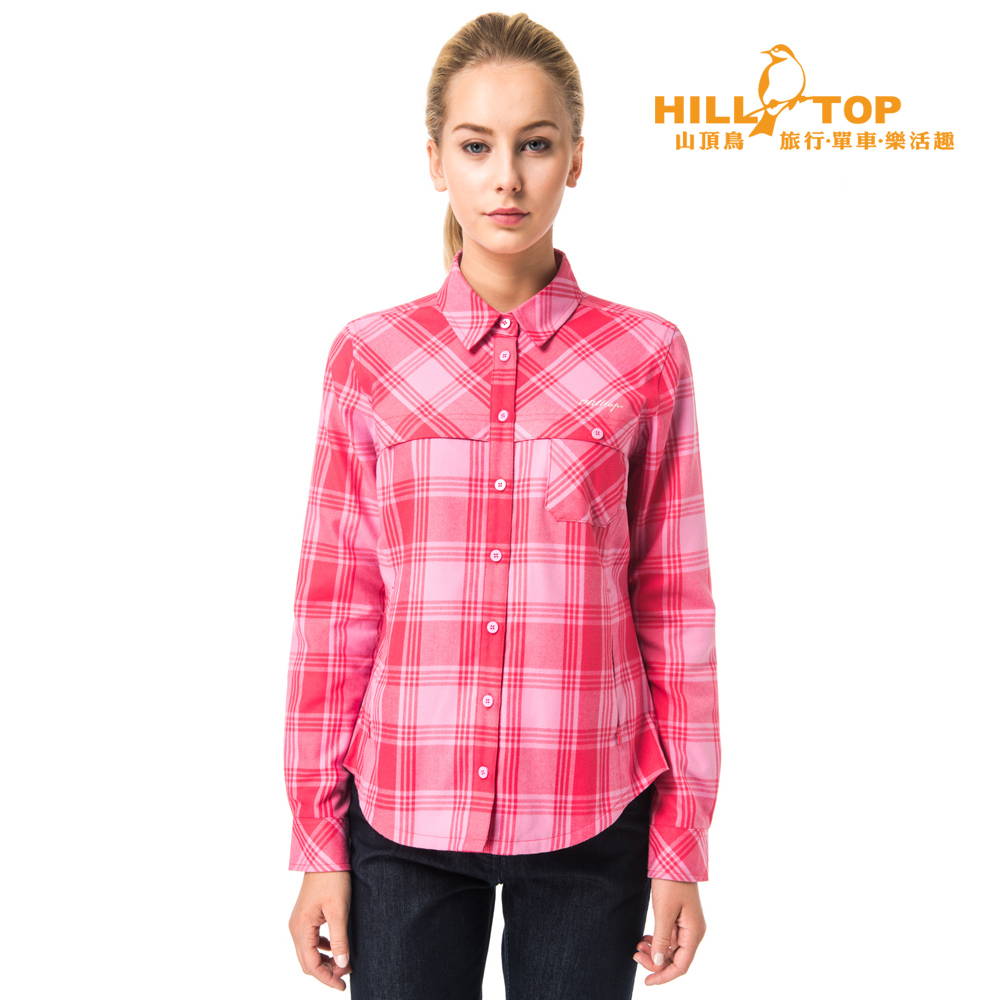 【hilltop山頂鳥】女款吸濕保暖長襯衫C05F17亮鵑/粉紅格子