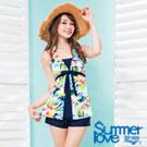 夏之戀SUMMERLOVE 比基尼泳裝 長版三件式 彩色花朵