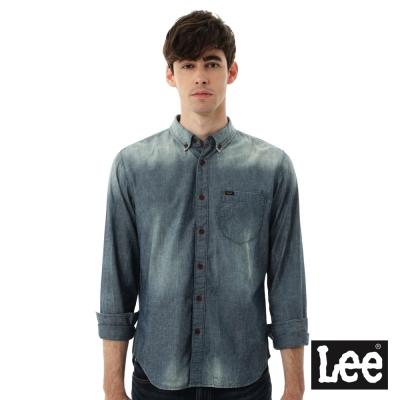 Lee 牛仔襯衫 棉點竹節深淺漸層 -男款-中古淺藍