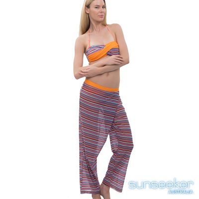 澳洲Sunseeker泳裝配品時尚幾何沙龍長褲-橘