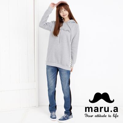 maru-a麻洛野-前後拼接刷色牛仔褲