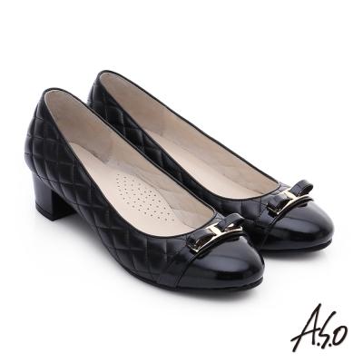 A.S.O 優雅美型 真皮小香風菱格紋粗跟鞋 黑色