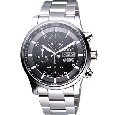 MIDO Multifort Chrono Valioux 計時機械腕錶-黑/鋼帶/44mm