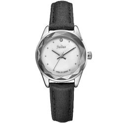 JULIUS聚利時 小獅子流星雨貝殼面皮帶腕錶-黑色/26mm
