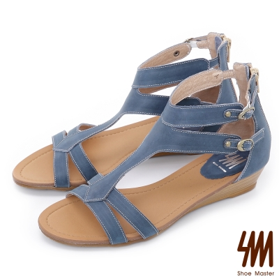 SM~羅馬系列~雙扣帶修飾圓頭低跟楔型涼鞋~藍色