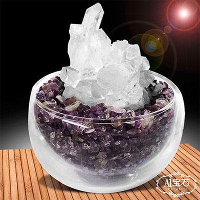 A1寶石  紫水晶聚寶盆-招財轉運白水晶簇(隨機出貨-含開光)