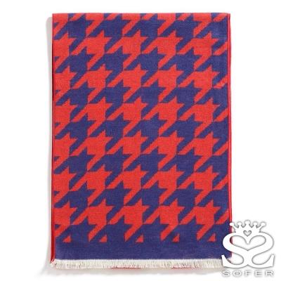 SOFER-千鳥格100-蠶絲圍巾-紅藍