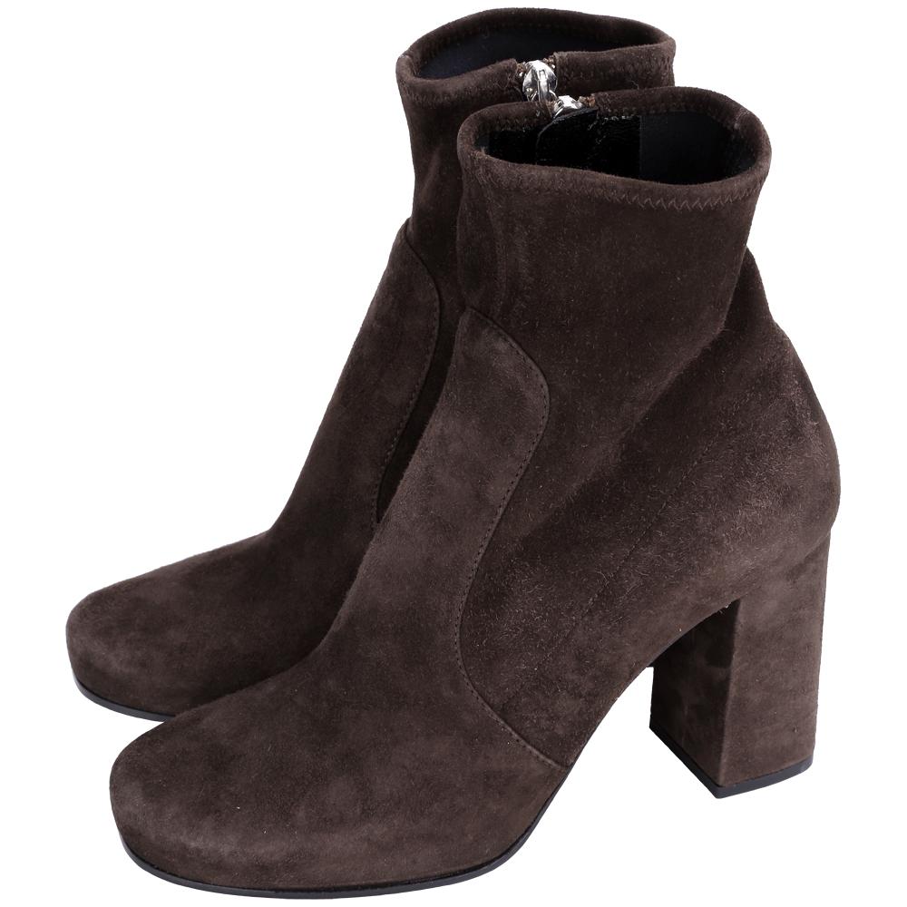 PRADA 麂皮粗跟短靴(深咖啡色)