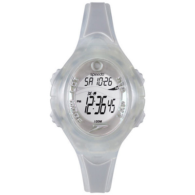 Speedo 紫外線感測運動電子腕錶-透明白/40mm