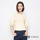 CHICA 叢花王國貓咪圖騰設計上衣(3色)