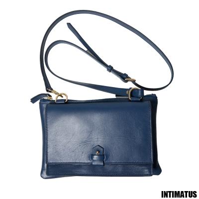 INTIMATUS-真皮-精緻牛皮小斜背包-海軍藍色