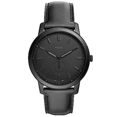 FOSSIL Minimalist紳士風尚真皮手錶(FS5447)-黑/44mm