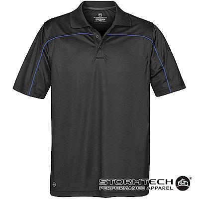 【加拿大STORMTECH】防曬快乾系統線條立領polo衫IPS-2-男-黑寶藍