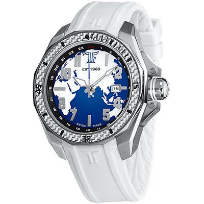 TF Est. 1968 Globe 世界地圖碳纖維錶-白/44mm