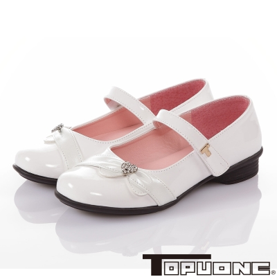 TOPUONE 手工豚皮水鑽減壓防滑公主包鞋童鞋-白色