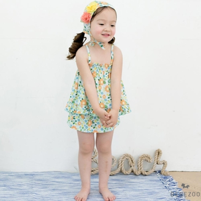 BEBEZOO 韓國 碎花吊帶泳衣泳帽套組