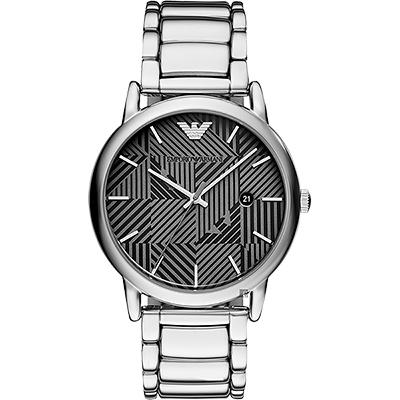 Emporio Armani 亞曼尼幾何概念手錶-銀/43mm
