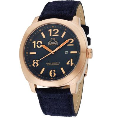 Kappa 復古玩色經典時尚腕錶-藍/47mm