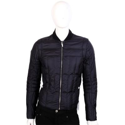 MONCLER 黑藍色車縫設計拉鍊羽絨外套
