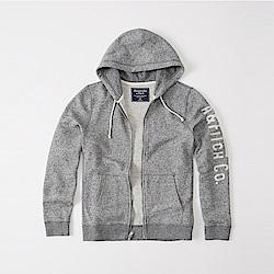 A&F 經典刺繡文字連帽外套-灰色 AF Abercrombie