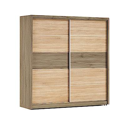 品家居 芭拉5.2尺橡木紋雙推門衣櫃-156.3x60.3x197cm免組