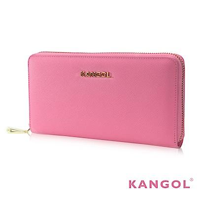 福利品 KANGOL 英式優雅經典風華 拉鍊長皮夾 十字紋頭層皮設計感-粉色