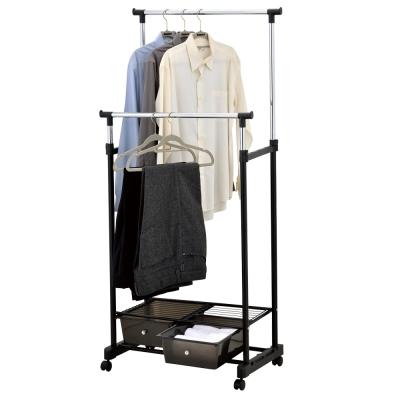IKLOO宜酷屋移動式雙桿抽屜收納衣架衣桿
