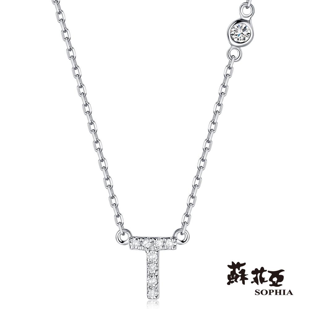 蘇菲亞SOPHIA 鑽鍊-英文字母鍊系列 T字鑽石項鍊(共2色)