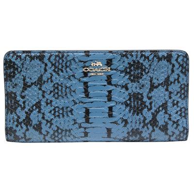 COACH-立體馬車蟒蛇紋皮革長夾-蟒紋海軍藍