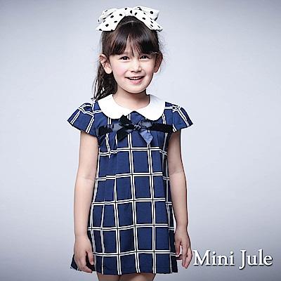 Mini Jule 童裝-洋裝 娃娃領蝴蝶結格子短袖洋裝(深藍)