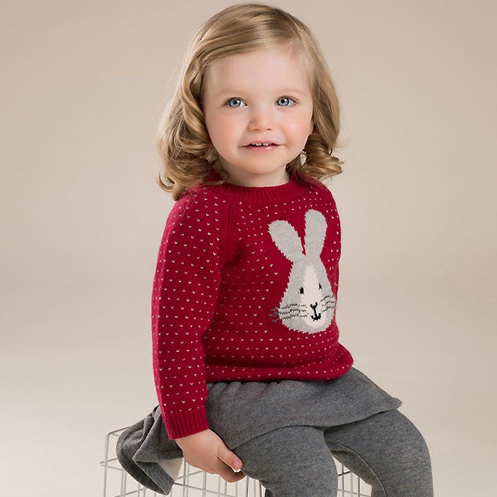 Dave Bella 紅白愛心兔兔針聖誕風格織長袖毛衣