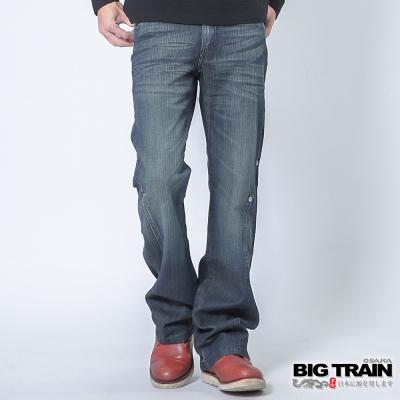 BIG TRAIN 伸縮低腰3D靴型褲-男-中藍
