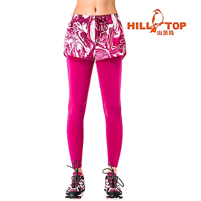 【hilltop山頂鳥】女款吸濕排汗抗UV彈性長褲S07FF8-果醬