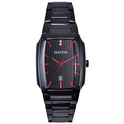 GOTO Laconic時尚腕錶-黑x紅/28mm