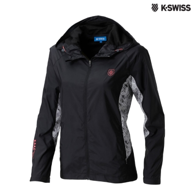 K-Swiss Panel Print Jacket風衣外套-女-黑