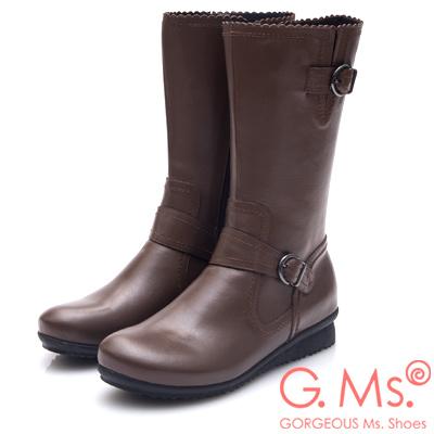 G.Ms. MIT系列-牛皮雙皮帶釦小坡跟中筒靴-咖啡