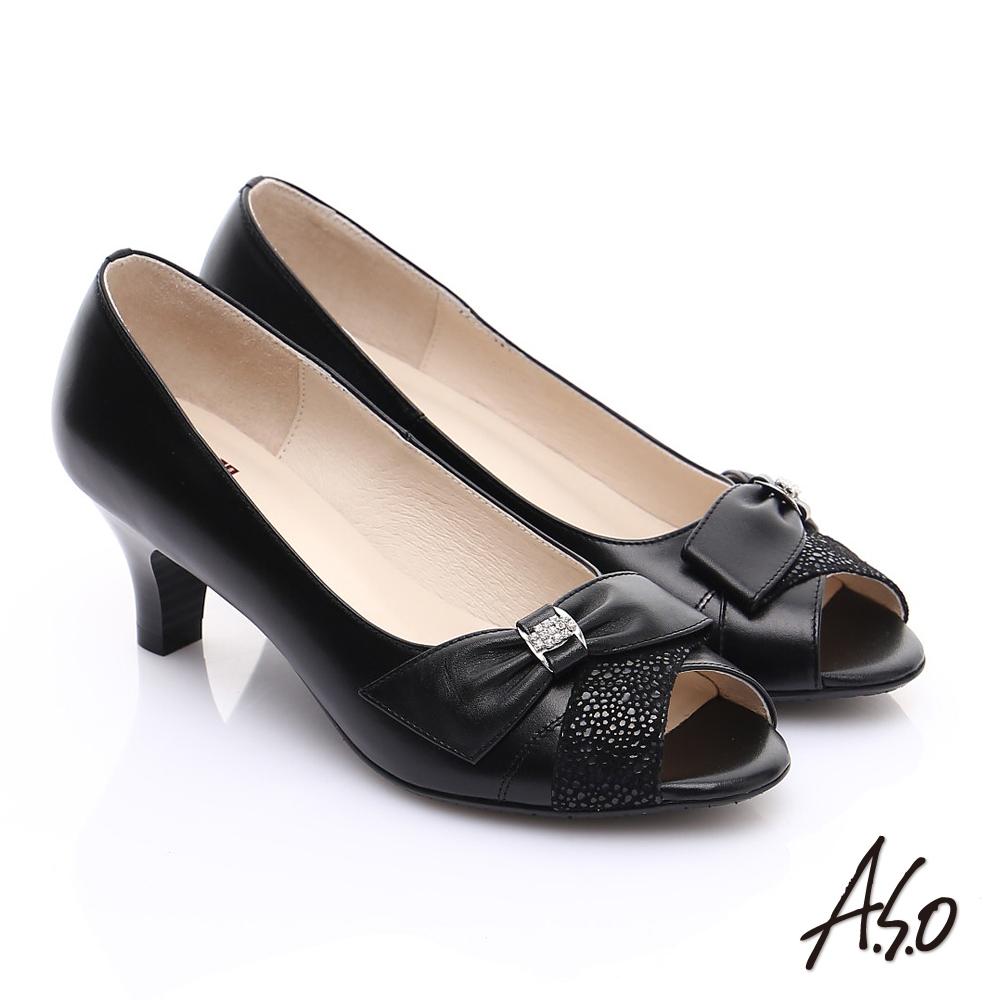 A.S.O 優雅時尚 全真皮絨面牛皮飾帶鑽飾魚口鞋 黑