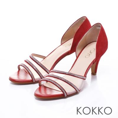KOKKO經典手工-微性感紗網水鑽真皮魚口高跟鞋-紅