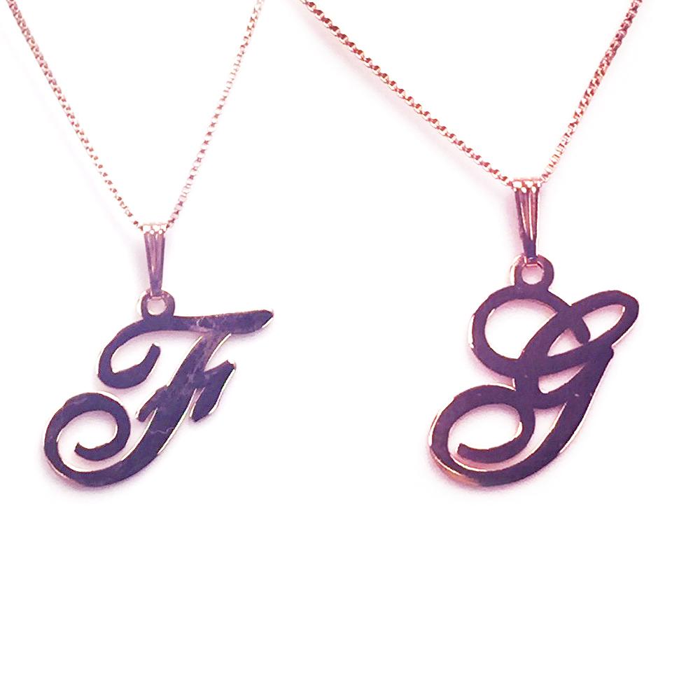 Anna Lou Of London倫敦品牌 F G 個性字母項鍊-玫瑰金