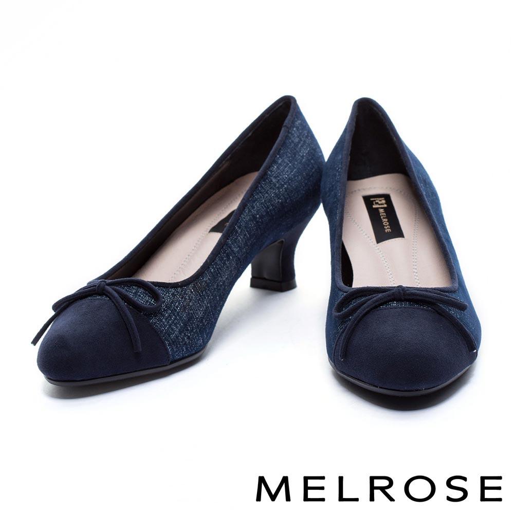 高跟鞋 MELROSE 異材質拼接全真皮圓頭高跟鞋-藍