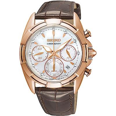 SEIKO精工 晶鑽計時手錶(SRW784P1)-珍珠貝x咖啡/36mm