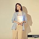 H:CONNECT 韓國品牌 女裝 - 條紋七分袖襯衫-藍