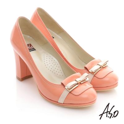 A.S.O 修身美型 鏡面牛皮立體蝴蝶高跟鞋 橘
