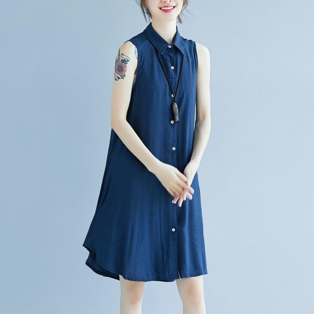 La Belleza素色襯衫領排釦背心洋裝側口袋前短後長