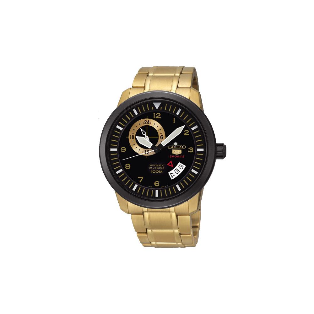 SEIKO 精工盾牌五號金采時尚機械錶-黑/42mm