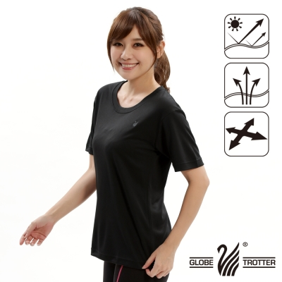 【遊遍天下】台灣製中性款輕量吸濕排汗機能圓領衫S107黑色