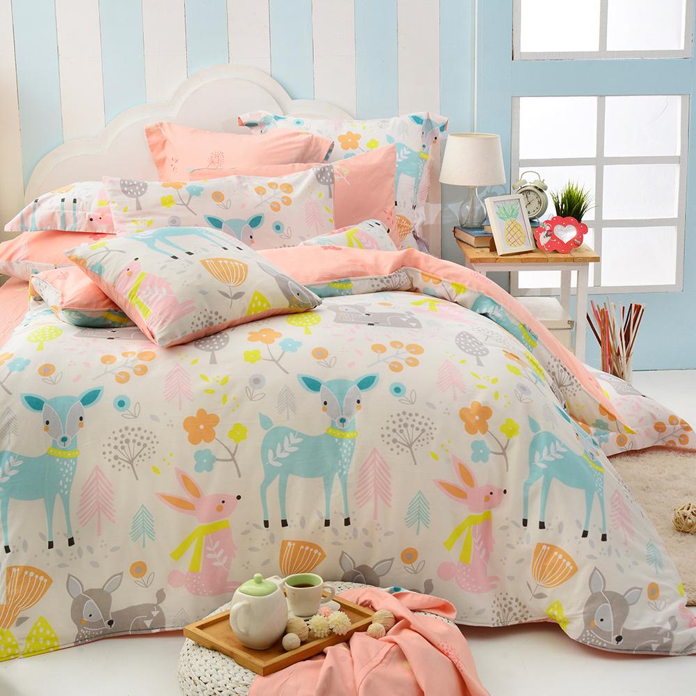 義大利Fancy Belle 雙人純棉防蹣抗菌吸濕排汗兩用被床包組-魔法森林