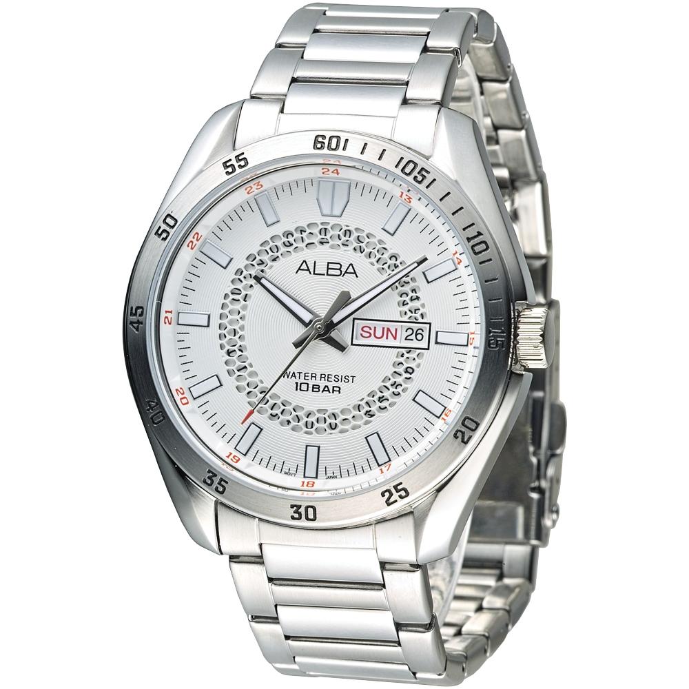 ALBA雅柏手錶 宇宙時梭風格男錶-白(AV3163X1)/43mm 保固二年