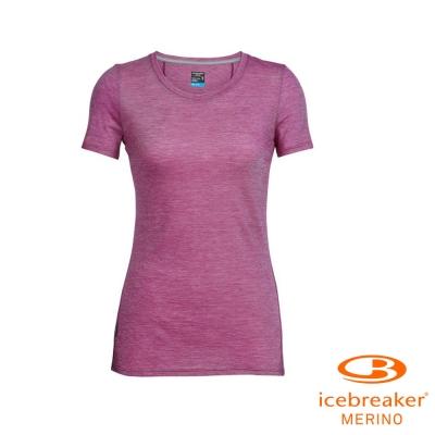 【Icebreaker】女 美麗諾羊毛 COOL-LITE 圓領短袖上衣_條紋淡紫