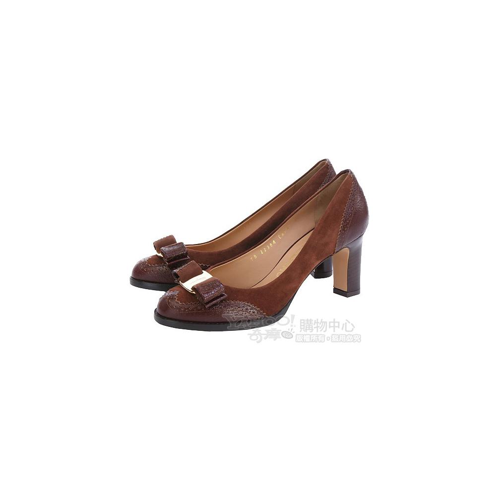 Salvatore Ferragamo TANIA 咖啡色麂皮拼接蝴蝶結高跟鞋